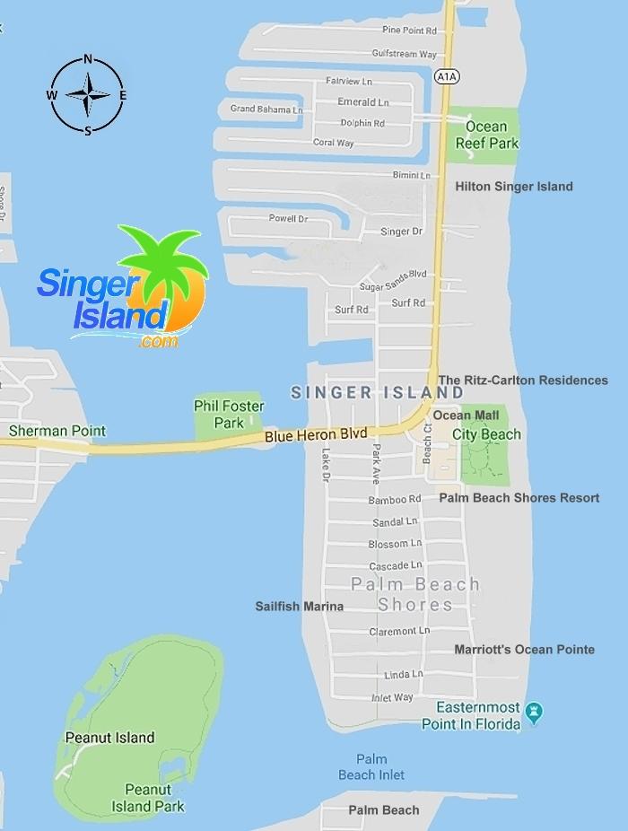 Singer Island Florida Map Map of Singer Island Florida   Singer Island Map   SingerIsland.com
